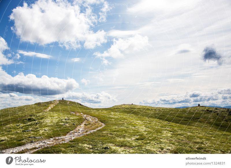Rondane Nationalpark II Umwelt Natur Landschaft Himmel Wolken Sommer Wetter Schönes Wetter Gras Hügel Felsen Berge u. Gebirge Gipfel hell wandern Gipfelkreuz