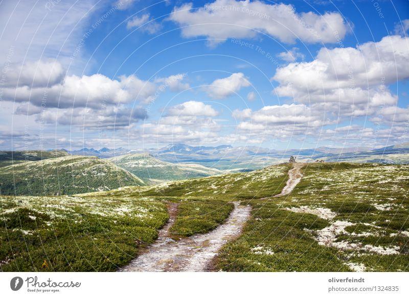 Rondane Nationalpark III Himmel Natur schön Landschaft Wolken Ferne Berge u. Gebirge Umwelt Wege & Pfade Wiese Freiheit Felsen Horizont Park wandern Ausflug