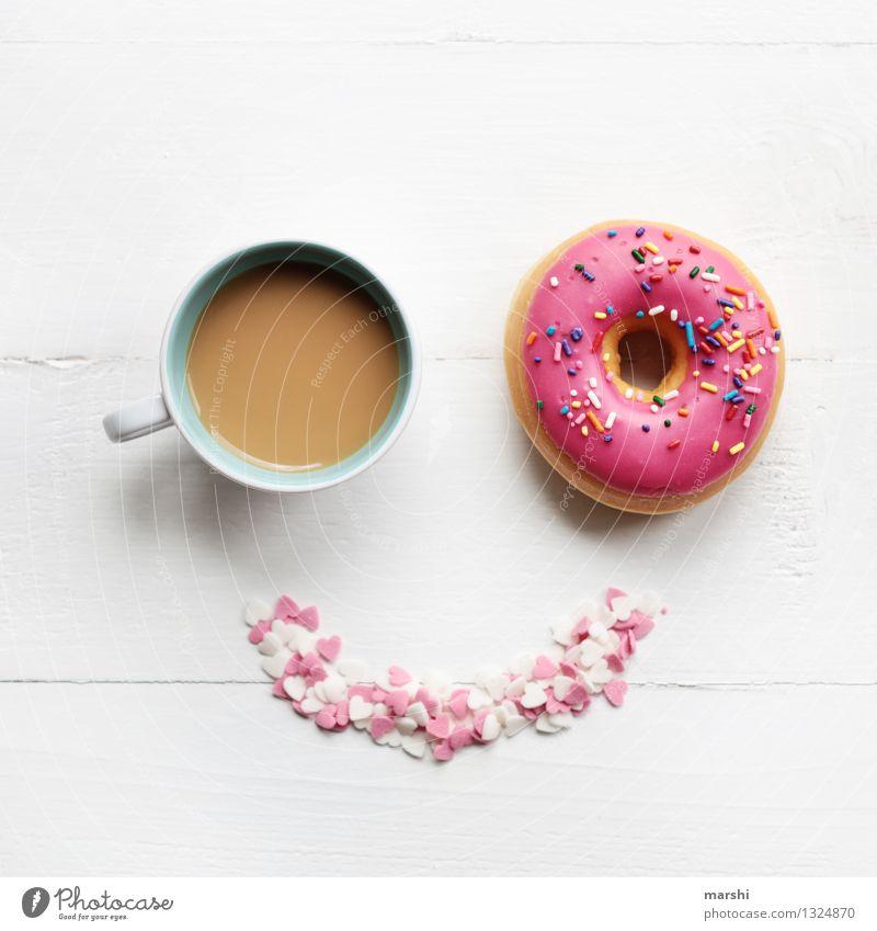 SMILE - it´s time for a coffee and donut Lebensmittel Dessert Süßwaren Ernährung Essen Getränk trinken Erfrischungsgetränk Kaffee Latte Macchiato Espresso Tasse