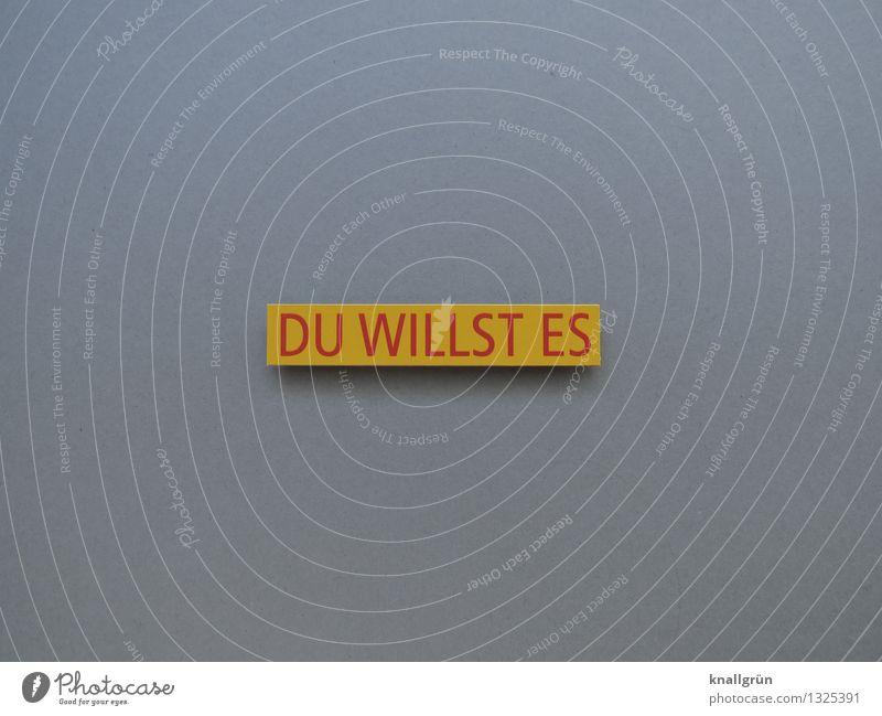 DU WILLST ES rot gelb Gefühle grau Stimmung Schilder & Markierungen Schriftzeichen Energie Kommunizieren Wunsch Mut Vorfreude eckig Erwartung Willensstärke