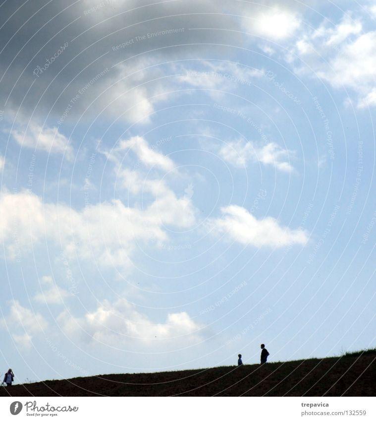 silhouetten II Mensch Spaziergang schwarz Wolken 3 Horizont Himmel schlechtes Wetter himmlisch Unendlichkeit Leben gehen grau Sommer blau Natur Silhouette