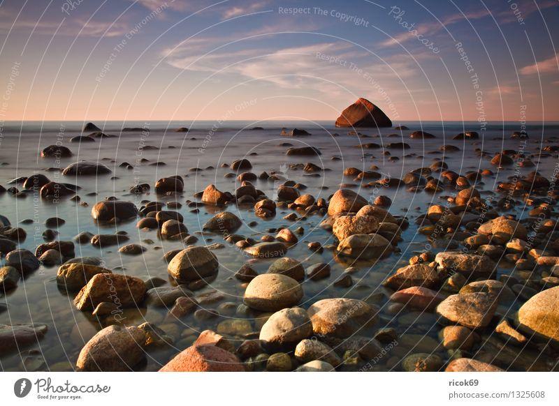 Schwanenstein Natur Ferien & Urlaub & Reisen blau Wasser Meer Landschaft ruhig Wolken Strand Küste Stein Felsen Tourismus Idylle Romantik Ostsee