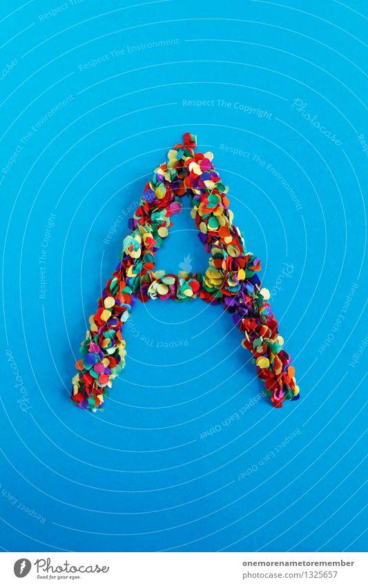 A Kunst Kunstwerk ästhetisch Buchstaben Typographie alphabetisch Kreativität Design Idee mehrfarbig Konfetti blau viele Mosaik Farbfoto Innenaufnahme Experiment