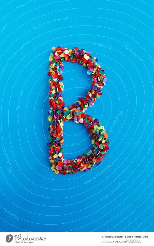 B Kunst Kunstwerk ästhetisch Buchstaben Typographie alphabetisch Konfetti Kreativität Design Idee viele mehrfarbig blau Farbfoto Innenaufnahme Experiment