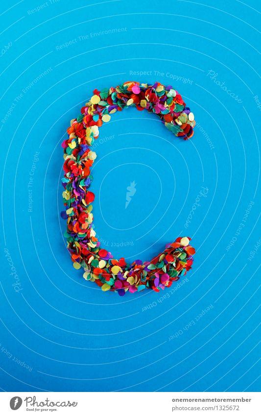 C Kunst Kunstwerk ästhetisch Buchstaben Typographie alphabetisch Konfetti viele Punkt Kreativität Design Idee blau mehrfarbig Farbfoto Innenaufnahme