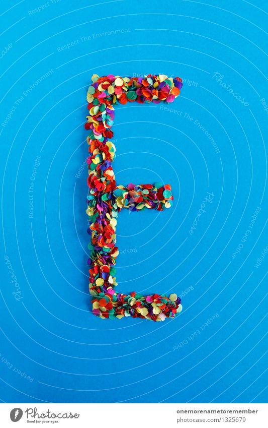 E Kunst Kunstwerk ästhetisch Buchstaben Typographie alphabetisch Konfetti Design Kreativität Idee blau mehrfarbig Farbfoto Innenaufnahme Experiment abstrakt