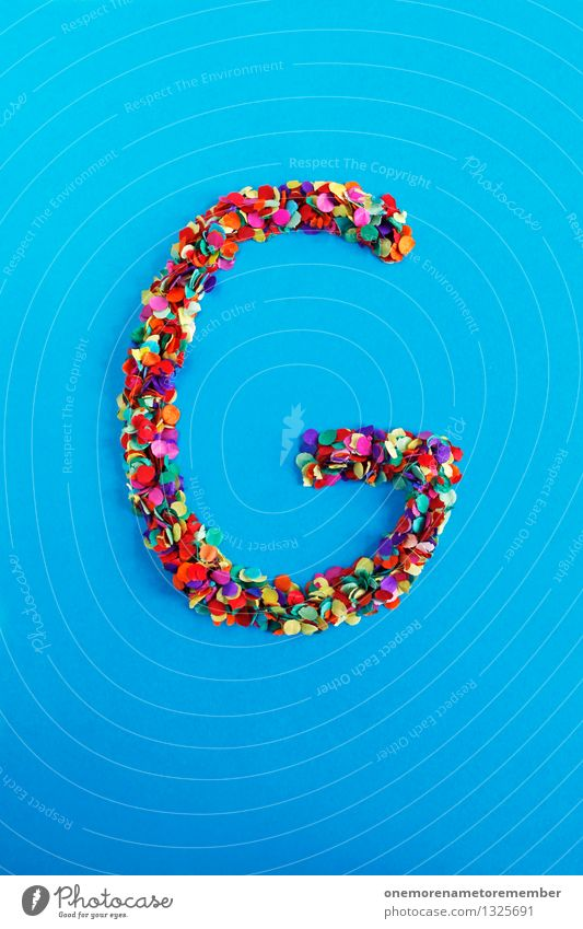 G blau Kunst Design ästhetisch Kreativität Idee Buchstaben Typographie Kunstwerk Konfetti alphabetisch
