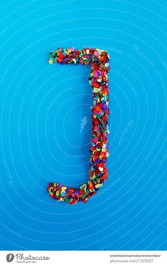 J Kunst Kunstwerk ästhetisch Buchstaben Typographie alphabetisch blau Konfetti viele Punkt mehrfarbig Kreativität Idee gestalten Design Farbfoto Innenaufnahme