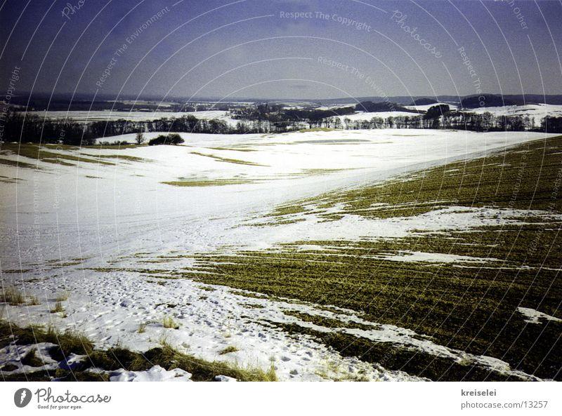 schneefeld Himmel Winter ruhig Schnee Landschaft Feld