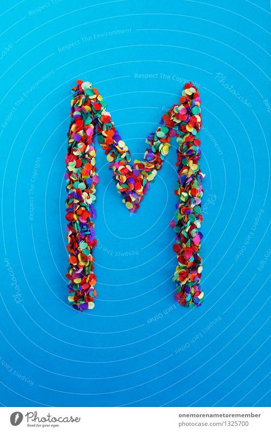 M Kunst Kunstwerk ästhetisch Buchstaben Typographie Lateinisches Alphabet blau Konfetti Kreativität Idee Design mehrfarbig viele Punkt Farbfoto Innenaufnahme