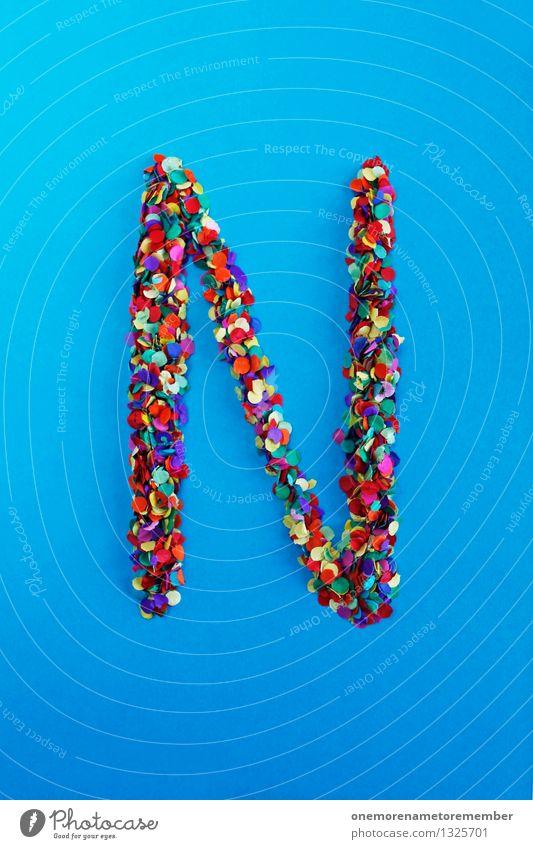 N Kunst Kunstwerk ästhetisch Buchstaben Typographie alphabetisch blau Konfetti mehrfarbig viele Punkt gebastelt Kreativität Idee Design Farbfoto Innenaufnahme