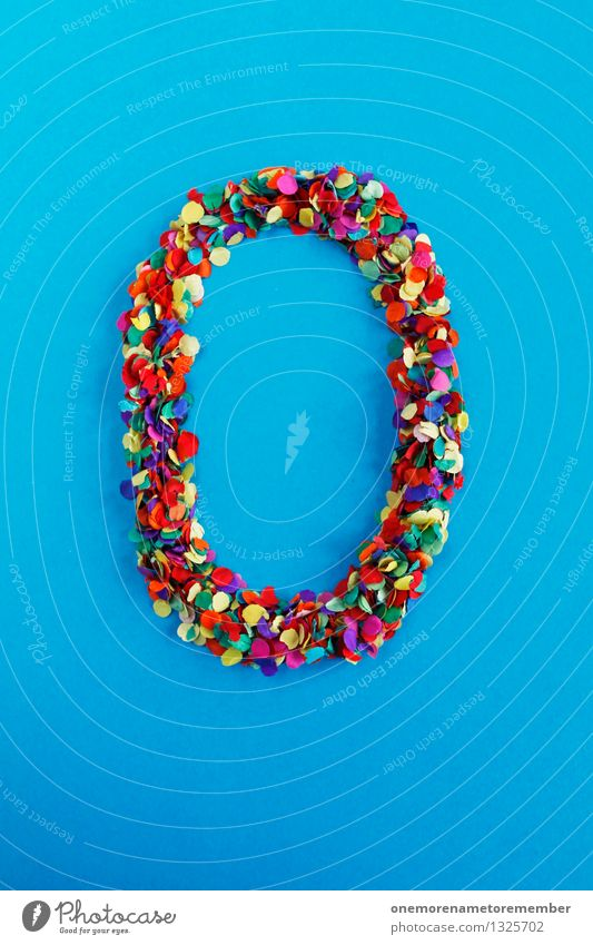 O Kunst Kunstwerk ästhetisch o Buchstaben Typographie alphabetisch Ostern Osternest blau Kreativität Idee Design mehrfarbig Konfetti Farbfoto Innenaufnahme
