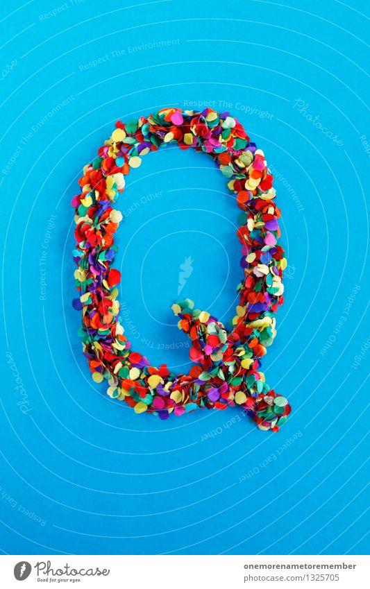 Q Kunst Kunstwerk ästhetisch Buchstaben Typographie alphabetisch Konfetti viele Punkt mehrfarbig Design Kreativität Idee Farbfoto Innenaufnahme Makroaufnahme