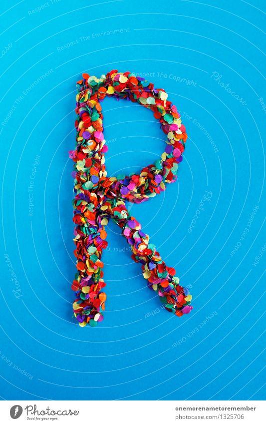 R Kunst Kunstwerk ästhetisch Buchstaben Typographie alphabetisch blau Konfetti mehrfarbig viele Punkt Mosaik Design Idee Kreativität Farbfoto Innenaufnahme
