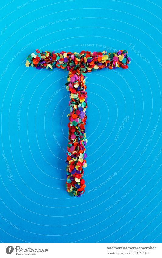 T Kunst Kunstwerk ästhetisch Buchstaben Typographie alphabetisch blau Konfetti viele mehrfarbig Design Kreativität Idee Punkt Farbfoto Innenaufnahme Experiment