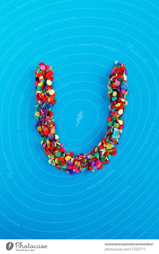 U Kunst ästhetisch Buchstaben Typographie alphabetisch blau Konfetti Kreativität Idee Design viele mehrfarbig gebastelt gestalten Farbfoto Innenaufnahme