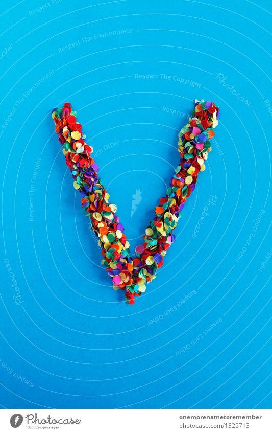 V Kunst Kunstwerk ästhetisch blau Konfetti mehrfarbig viele Punkt gebastelt Buchstaben Typographie alphabetisch Farbfoto Innenaufnahme Experiment abstrakt