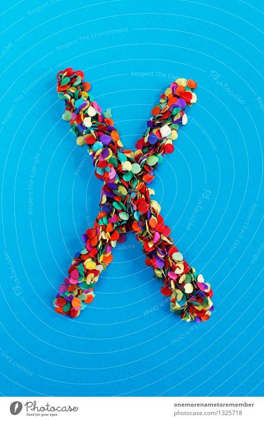 X Kunst Kunstwerk ästhetisch x XXL Konfetti Kreativität Idee Design blau Buchstaben Typographie alphabetisch viele Mosaik mehrfarbig Farbfoto Außenaufnahme