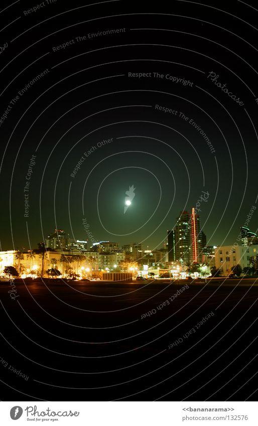 San Diego Night Himmel Haus Beleuchtung Hochhaus groß Skyline Mond Stadtzentrum Kalifornien Los Angeles San Diego County