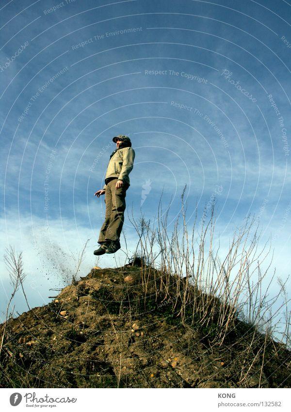 over the edge Himmel Natur Pflanze Freude Wolken oben Sand springen Erde Wind hoch Luftverkehr Ecke Hügel Gipfel Sturm