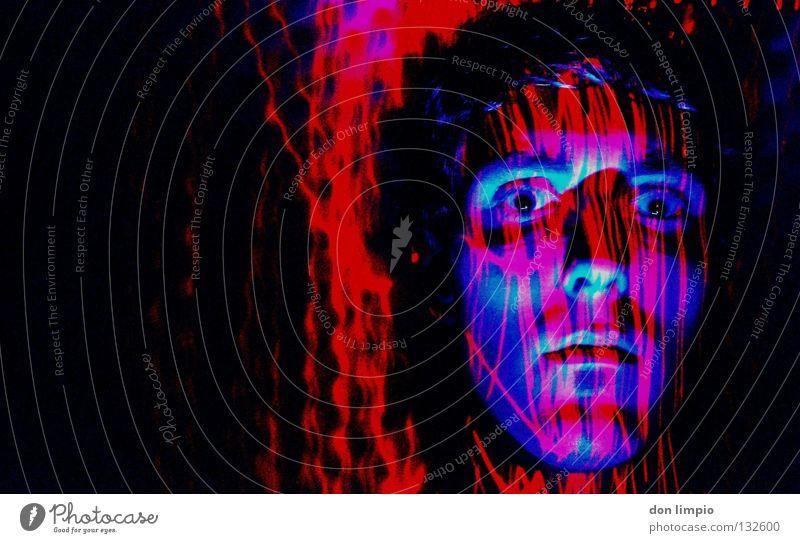 laser-works rot Experiment analog bearbeitet Laser Feuerzeug Langzeitbelichtung blau Auge Gesicht 15sec. lanzeitbelichtung