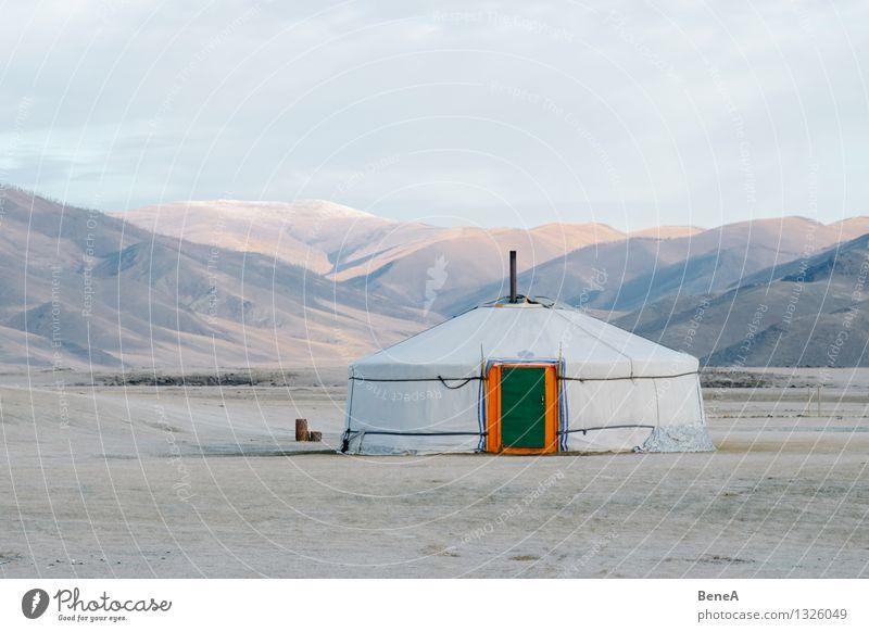 Mongolei Einsamkeit Haus Ferne Wiese natürlich Freiheit Fassade Wohnung Häusliches Leben Tür einfach Dach Schutz Unendlichkeit Hügel Asien