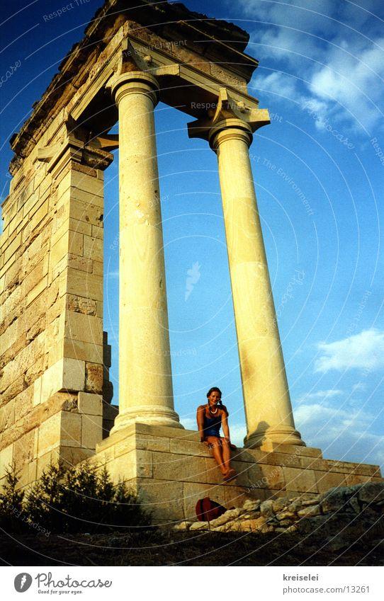 beinebaumelnlassen Himmel Sonne Sommer Ferien & Urlaub & Reisen Europa Ruine Tempel Zypern