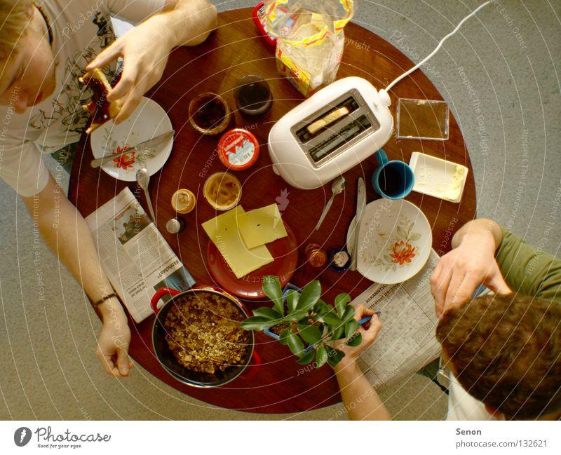 Morgen! nen guten Frühstück Toaster Käse Weitwinkel Ernährung Tisch rund oben Zusammensein Zeitung Kaffee Küche Breakfast flat share Essen