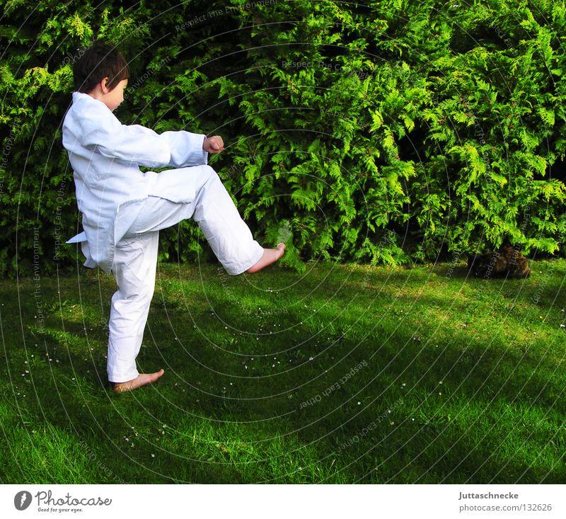Kalif Storch Kind weiß grün Sport Junge springen Spielen Zufriedenheit Japan Sport-Training kämpfen Schlag üben schlagen Kampfsport Defensive