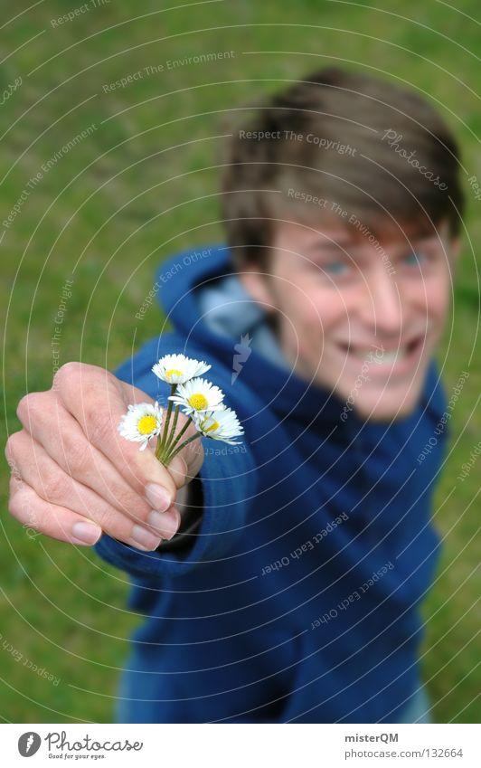 Willst du mit mir gehen? Ja... Nein... Vielleicht... Mensch Mann blau weiß Freude oben Frühling Haare & Frisuren Glück klein Geburtstag maskulin Perspektive