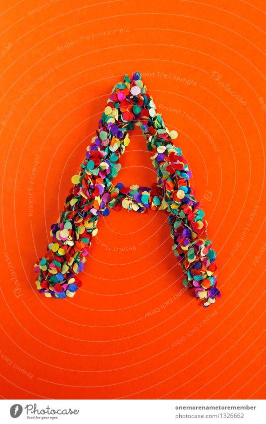 A Kunst ästhetisch Buchstaben Typographie Griechisches Alphabet orange-rot Mosaik Kreativität Konfetti Design Idee mehrfarbig knallig viele Punkt