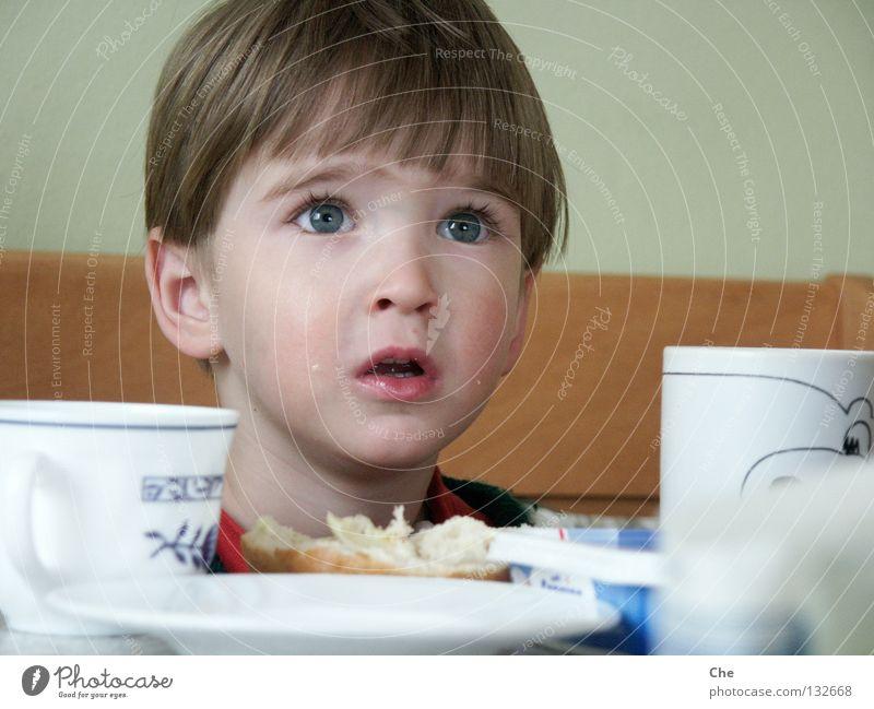 Und wo bleibt die Marmelade? Kind klein Wimpern Frühstück Brötchen Tasse Teller Untertasse Tisch betteln Erwartung Vertrauen offen Konzentration Kleinkind Küche
