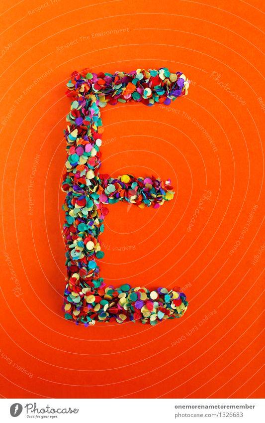 E Kunst Kunstwerk ästhetisch Buchstaben Typographie alphabetisch orange-rot Kreativität Idee Konfetti Design Farbfoto mehrfarbig Innenaufnahme Detailaufnahme