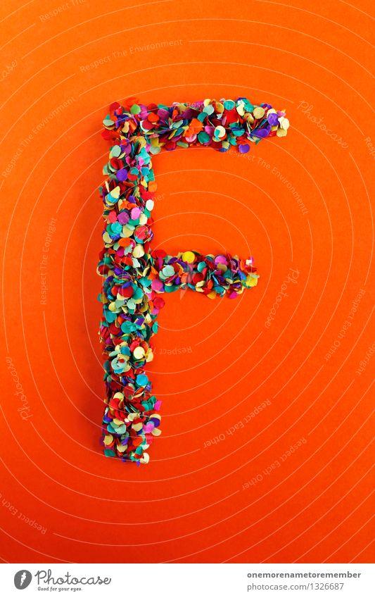 F Kunst Kunstwerk ästhetisch Buchstaben Typographie Lateinisches Alphabet orange-rot Kreativität Idee Konfetti Design Farbfoto mehrfarbig Innenaufnahme