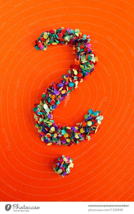 Fragezeichen Kunst ästhetisch Buchstaben Punkt viele Typographie Kunstwerk Konfetti Mosaik orange-rot Satzzeichen