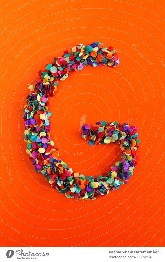 G Kunst Kunstwerk ästhetisch Buchstaben Typographie Lateinisches Alphabet orange-rot Kreativität Idee Design Konfetti mehrfarbig Farbfoto Innenaufnahme
