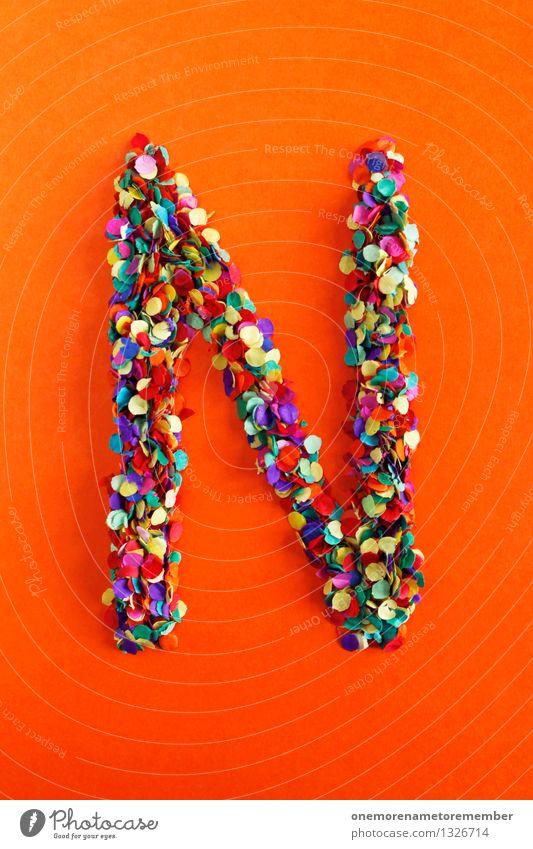 N Kunst Kunstwerk ästhetisch Buchstaben Typographie alphabetisch orange-rot Konfetti Kreativität Idee Design mehrfarbig Farbfoto Innenaufnahme Experiment