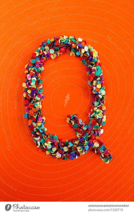 Q rot Kunst orange Design ästhetisch Kreativität Idee Buchstaben Typographie Kunstwerk Konfetti alphabetisch