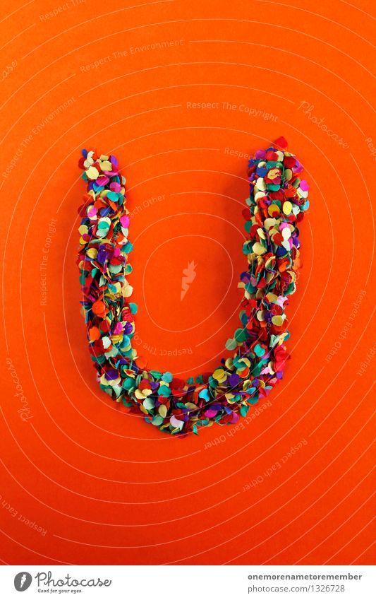 U Kunst Kunstwerk ästhetisch Buchstaben Typographie alphabetisch orange rot Konfetti Kreativität Idee Design Farbfoto mehrfarbig Innenaufnahme Experiment