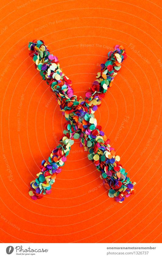 X Kunst ästhetisch x Buchstaben Typographie alphabetisch orange rot Konfetti Kreativität Idee Design Farbfoto mehrfarbig Innenaufnahme Experiment abstrakt