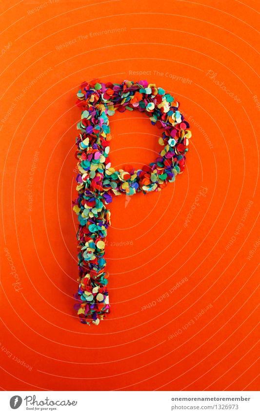 P Kunst Kunstwerk ästhetisch Buchstaben Typographie Lateinisches Alphabet orange rot Kreativität Konfetti Design Idee mehrfarbig Farbfoto Innenaufnahme
