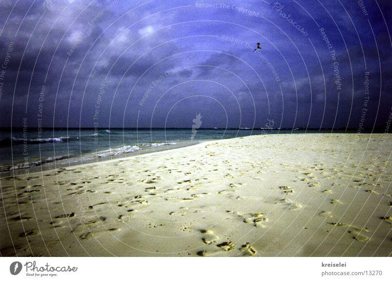 Niemand zu Hause? Himmel Meer blau Strand Ferien & Urlaub & Reisen Einsamkeit Sand Fußspur Spuren