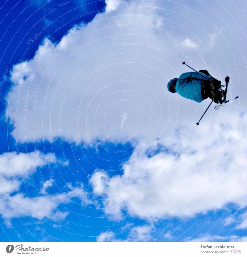Flight Control VII schön Wolken Freude Winter Hintergrundbild Freiheit fliegen springen Freizeit & Hobby groß hoch Show Risiko Skifahren Mut Skier