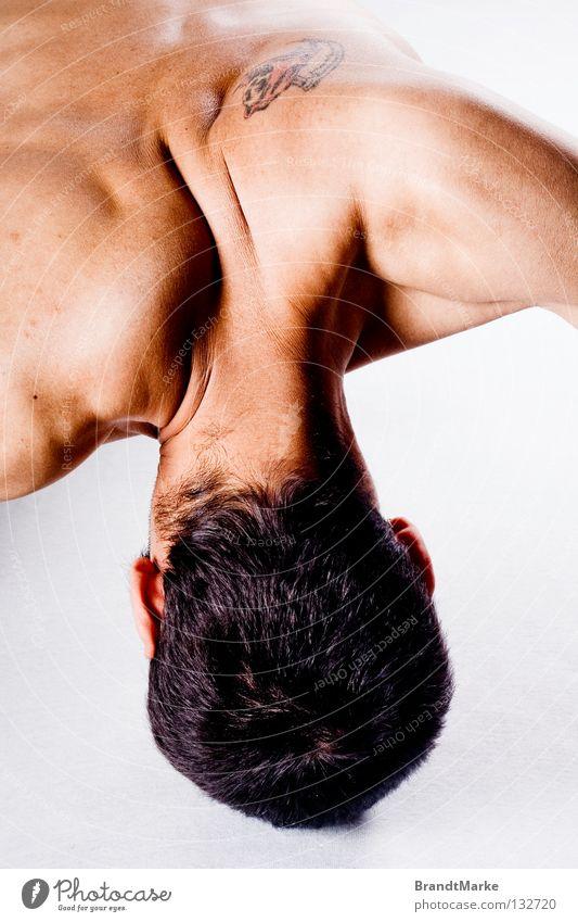 Tattoo Mann weiß Tod Kopf Haare & Frisuren braun Kraft Haut Arme Rücken Hautfalten Falte stark diagonal