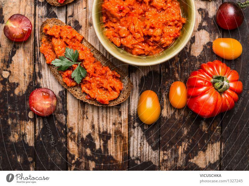 Vegetarischer Aufstrich und gesunde Brotschnitte Gesunde Ernährung Leben Stil Hintergrundbild Garten Lebensmittel Design Tisch Küche Gemüse Bioprodukte