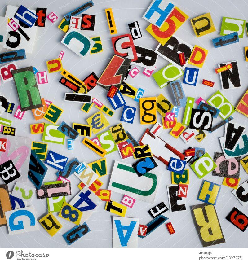 Salat Stil Schriftzeichen viele mehrfarbig Kommunizieren Schnipsel Papier chaotisch Sprache Typographie Text Lateinisches Alphabet Farbfoto Studioaufnahme