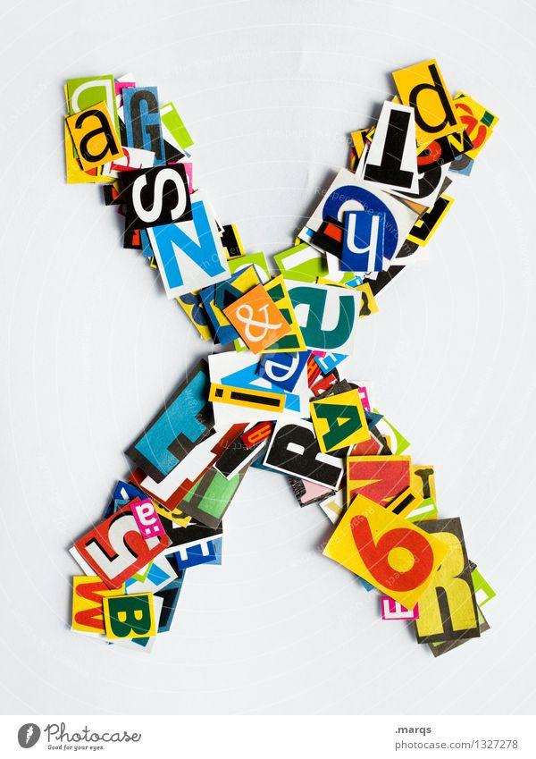 X Stil Design Bildung Schriftzeichen Lateinisches Alphabet Schnipsel x Farbfoto mehrfarbig Freisteller Hintergrund neutral