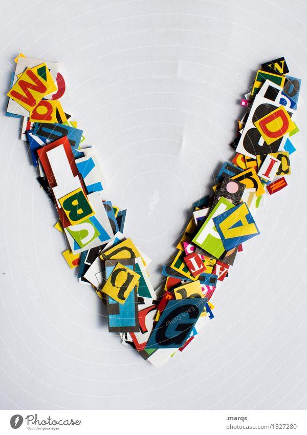 V Stil Design Bildung Schriftzeichen Schnipsel Lateinisches Alphabet Farbfoto mehrfarbig Freisteller Hintergrund neutral