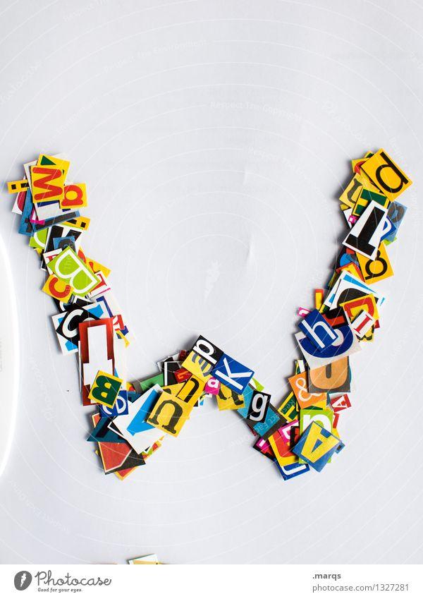 W Stil Design Bildung Schriftzeichen w Lateinisches Alphabet Schnipsel Farbfoto mehrfarbig Freisteller Hintergrund neutral