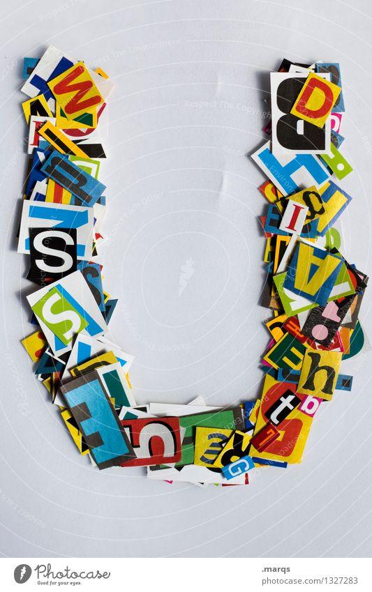 U Stil Design Bildung Schriftzeichen Lateinisches Alphabet Schnipsel Farbfoto mehrfarbig Freisteller Hintergrund neutral